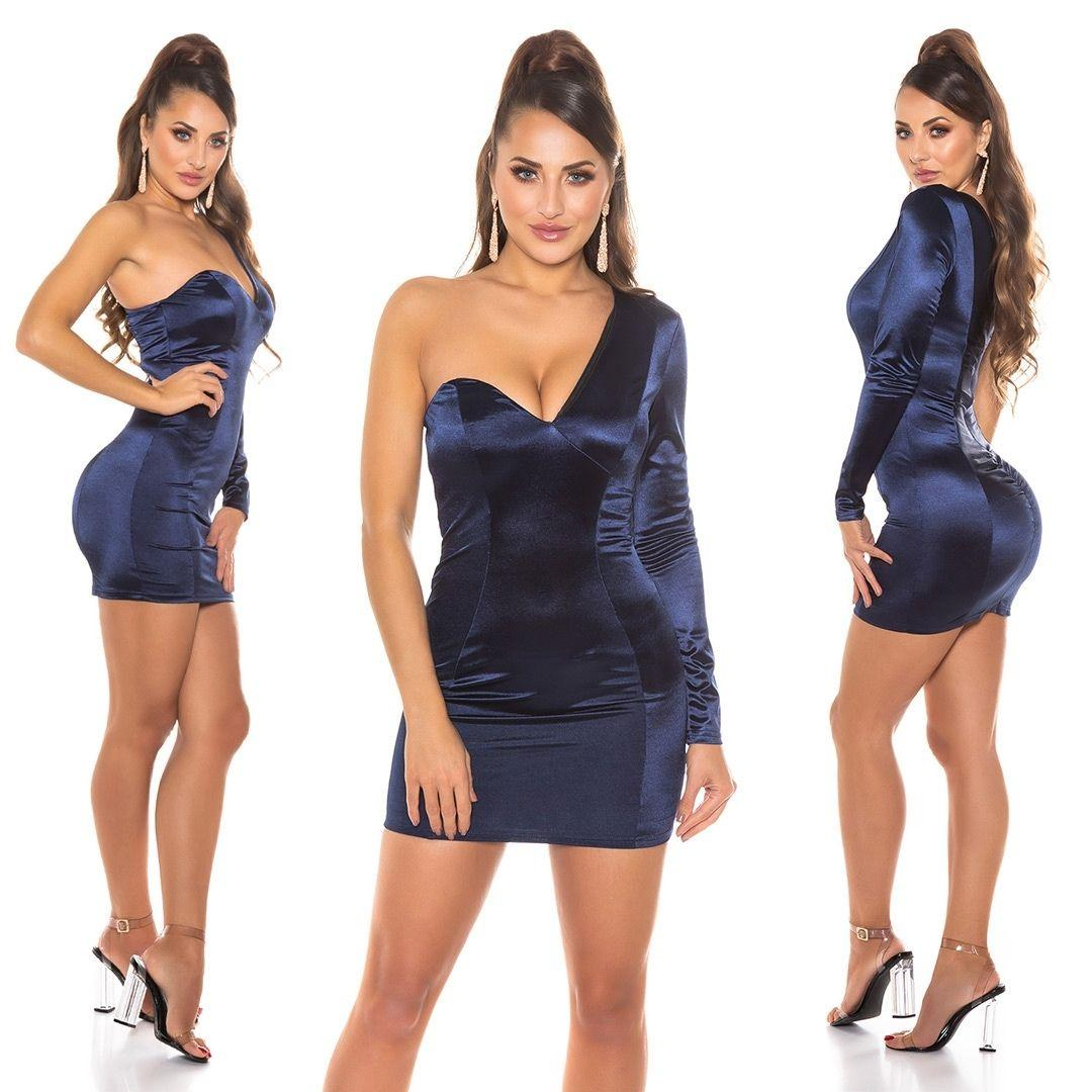 Vestido azul satinado de moda