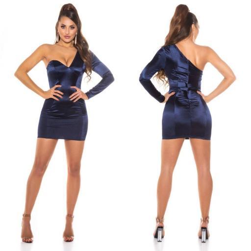 Vestido azul satinado de moda  [1]