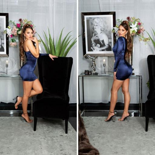 Vestido azul satinado de moda  [2]