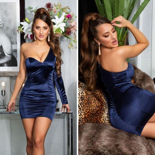Vestido azul satinado de moda  [3]