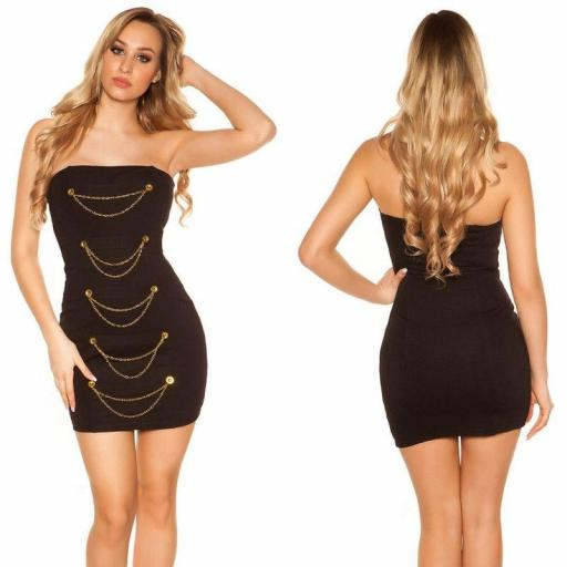 Mini vestido negro bandeau con dorado