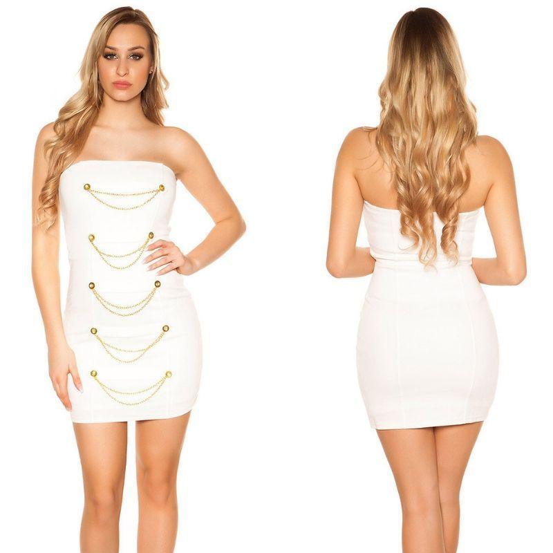 Mini vestido blanco bandeau con dorado