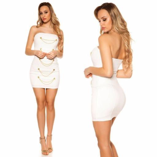 Mini vestido blanco bandeau con dorado  [1]