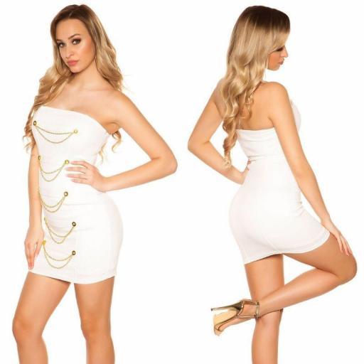 Mini vestido blanco bandeau con dorado  [2]