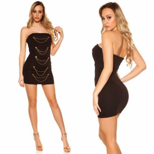 Mini vestido negro bandeau con dorado  [1]