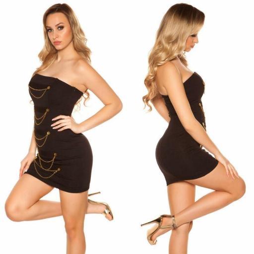 Mini vestido negro bandeau con dorado  [2]