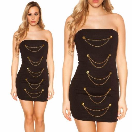 Mini vestido negro bandeau con dorado  [3]