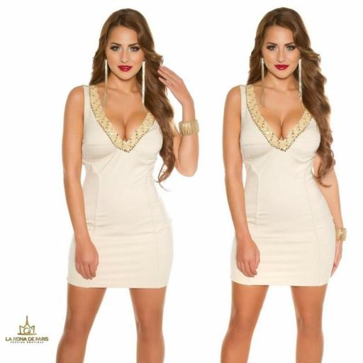 Vestido de fiesta corto escotado beige