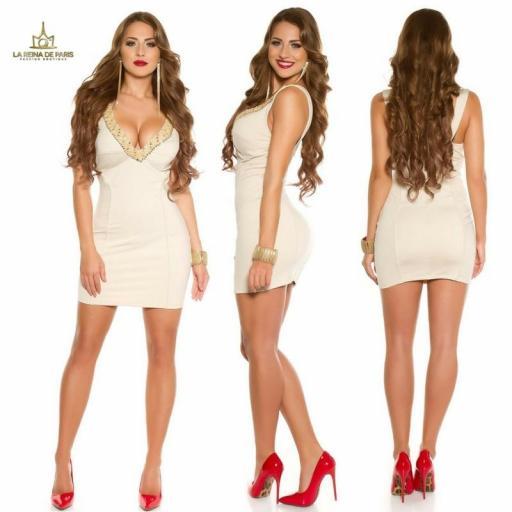 Vestido de fiesta corto escotado beige [1]