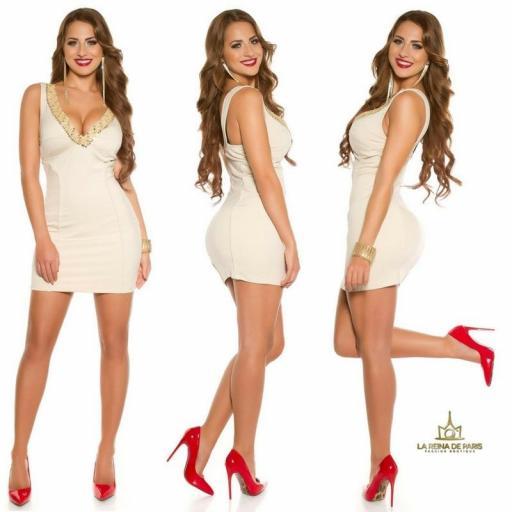 Vestido de fiesta corto escotado beige [2]
