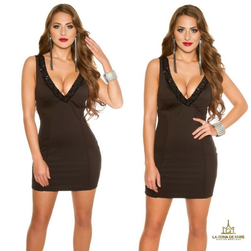 Vestido de fiesta corto escotado negro