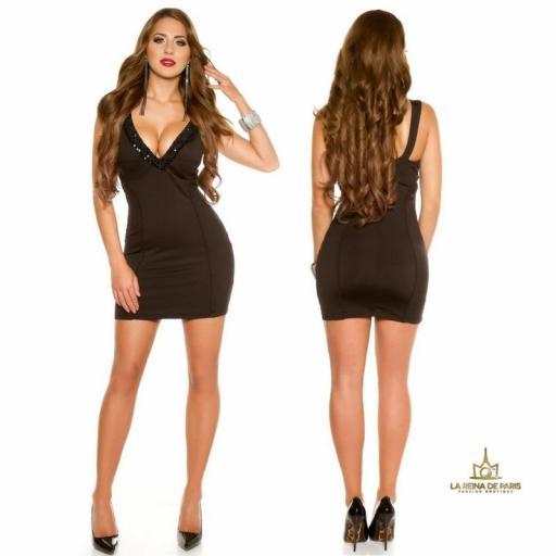 Vestido de fiesta corto escotado negro [1]