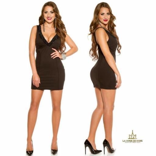 Vestido de fiesta corto escotado negro [3]