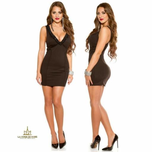 Vestido de fiesta corto escotado negro [2]