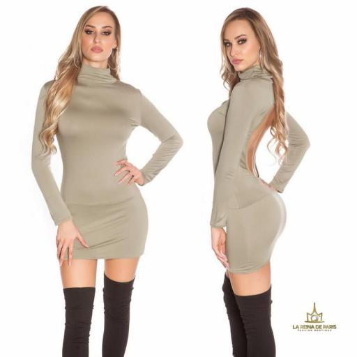 Vestido corto sin espalda khaki [1]