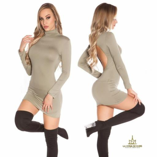 Vestido corto sin espalda khaki [2]