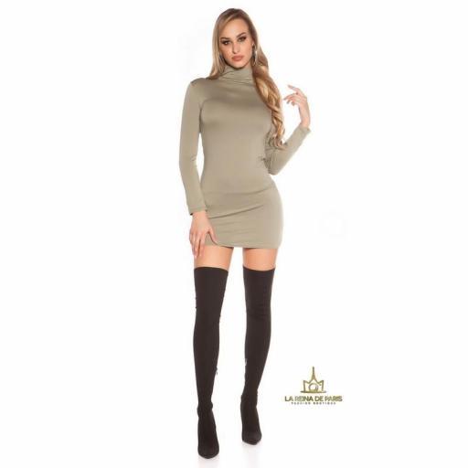 Vestido corto sin espalda khaki [3]