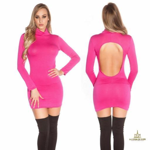 Vestido corto sin espalda fucsia