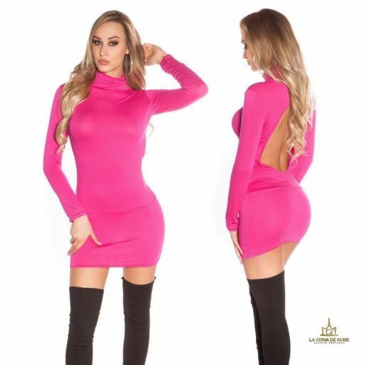 Vestido corto sin espalda fucsia [1]