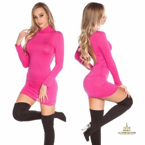 Vestido corto sin espalda fucsia [2]