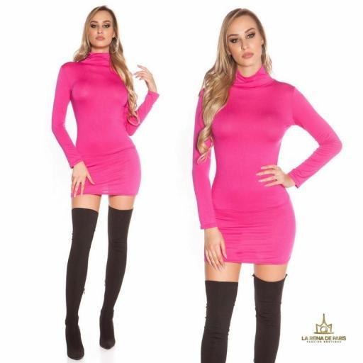 Vestido corto sin espalda fucsia [3]
