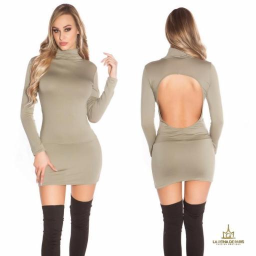 Vestido corto sin espalda khaki