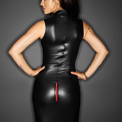 Vestido de cuero con cremalleras sexy [1]