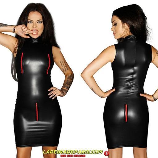Vestido de cuero con cremalleras sexy [3]