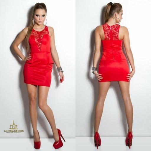 Vestido rojo péplum y encaje