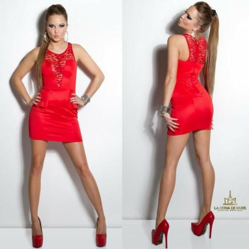 Vestido rojo péplum y encaje [1]