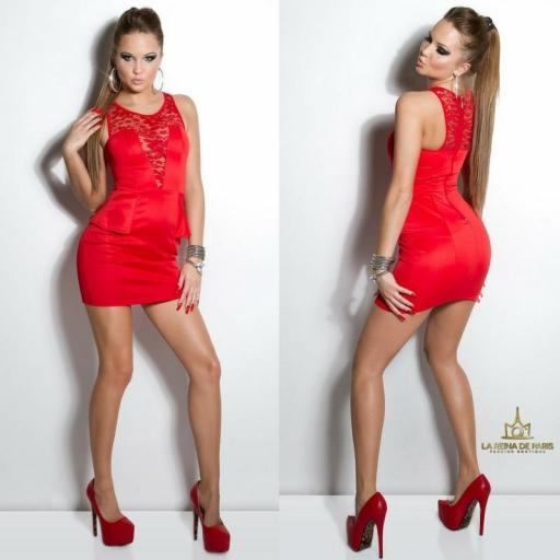 Vestido rojo péplum y encaje [2]