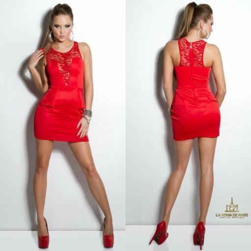 Vestido rojo péplum y encaje [3]