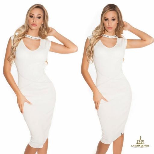 Vestido de punto blanco con gargantilla [3]