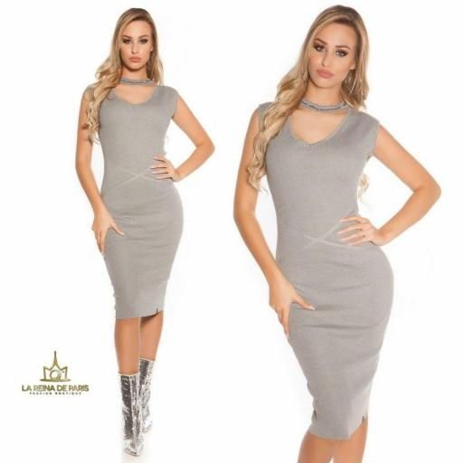 Vestido de punto gris con gargantilla [3]