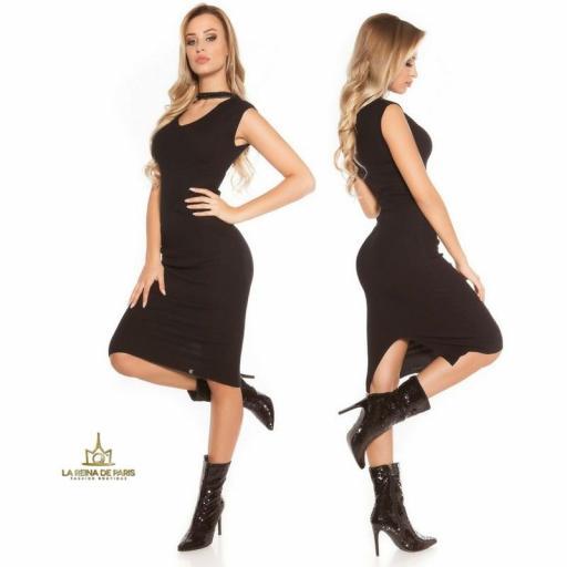 Vestido de punto negro con gargantilla [2]