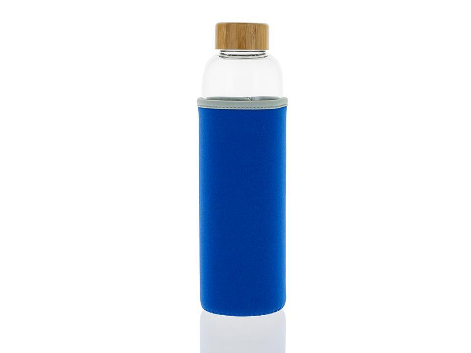 102-S Botella tapón madera + Funda Azul (550ml)