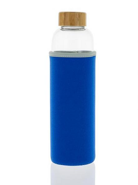 102-S Botella tapón madera + Funda Azul (550ml) [0]