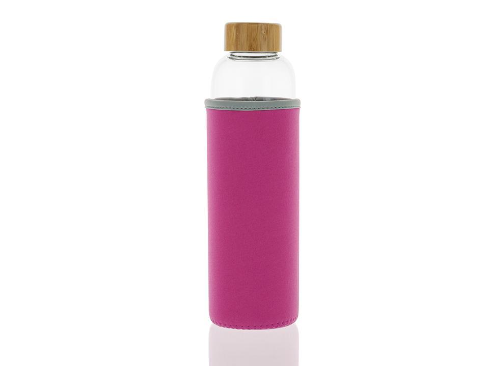 102-S Botella tapón madera + Funda Rosa (550ml)