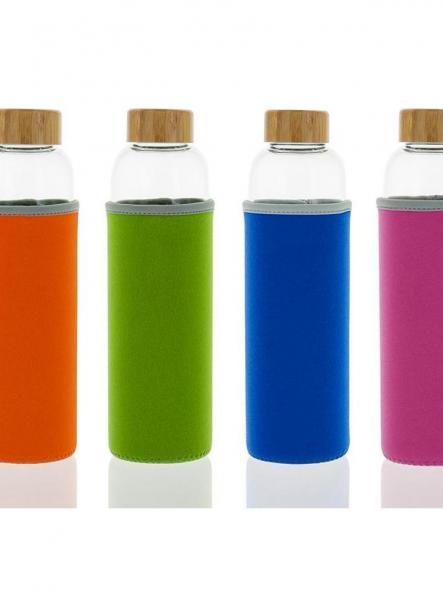 102-S Botella tapón madera + Funda Rosa (550ml) [3]