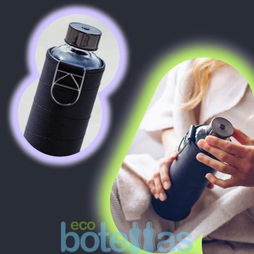 EQUA Graphite botella de cristal (750ml) con funda [3]