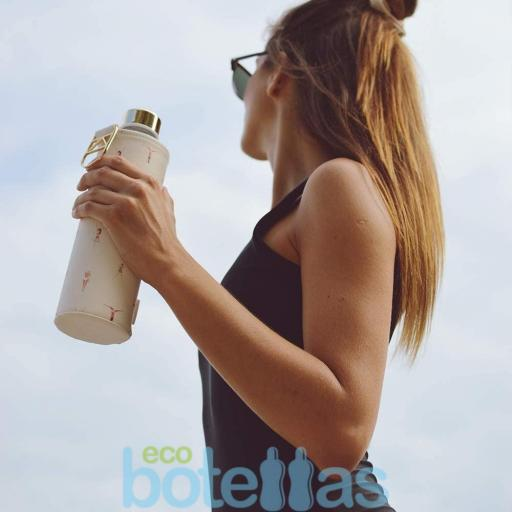 EQUA Playa botella de cristal (750ml) con funda [2]