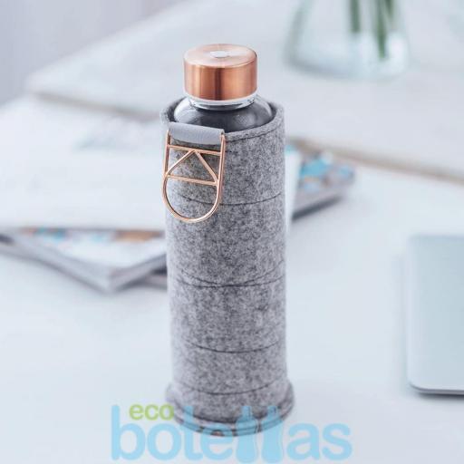 EQUA Rose Gold botella de cristal (750ml) con funda [1]