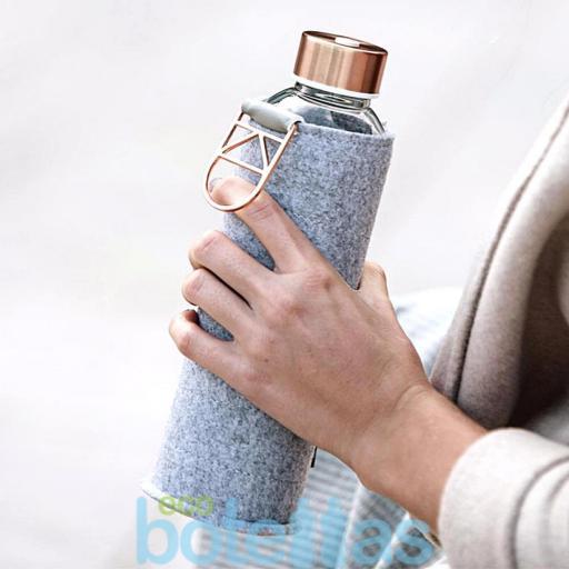 EQUA Rose Gold botella de cristal (750ml) con funda [3]
