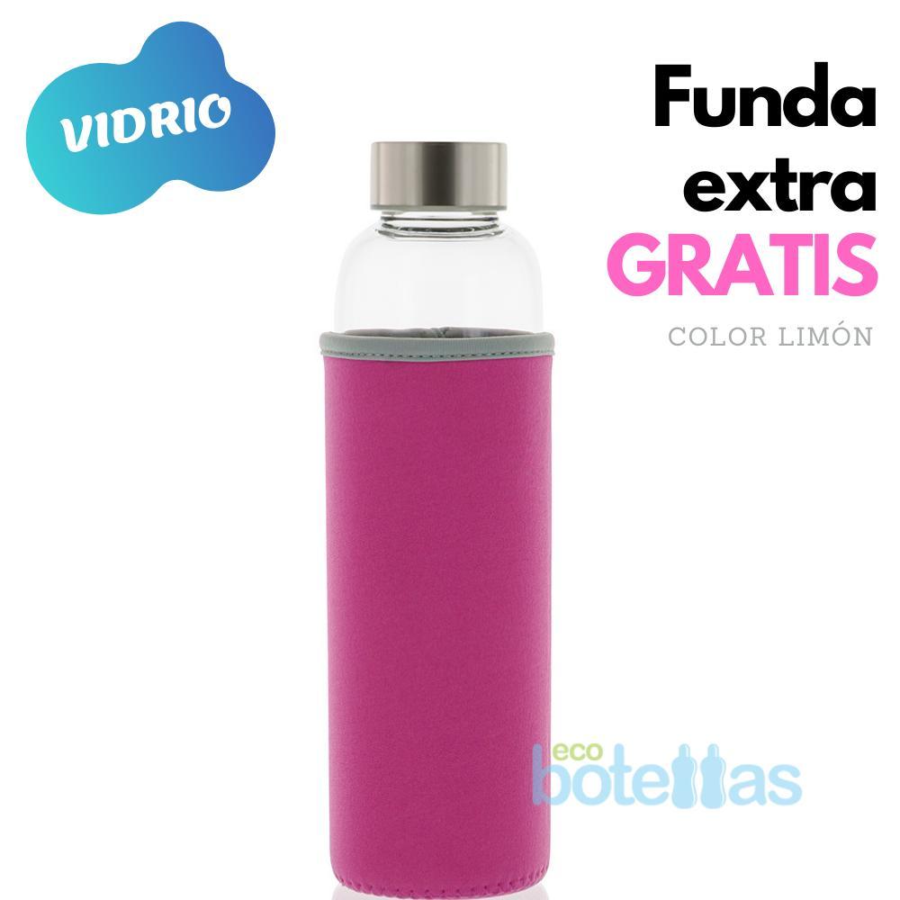 102-S Botella cristal Funda neopreno Rosa (500ml)
