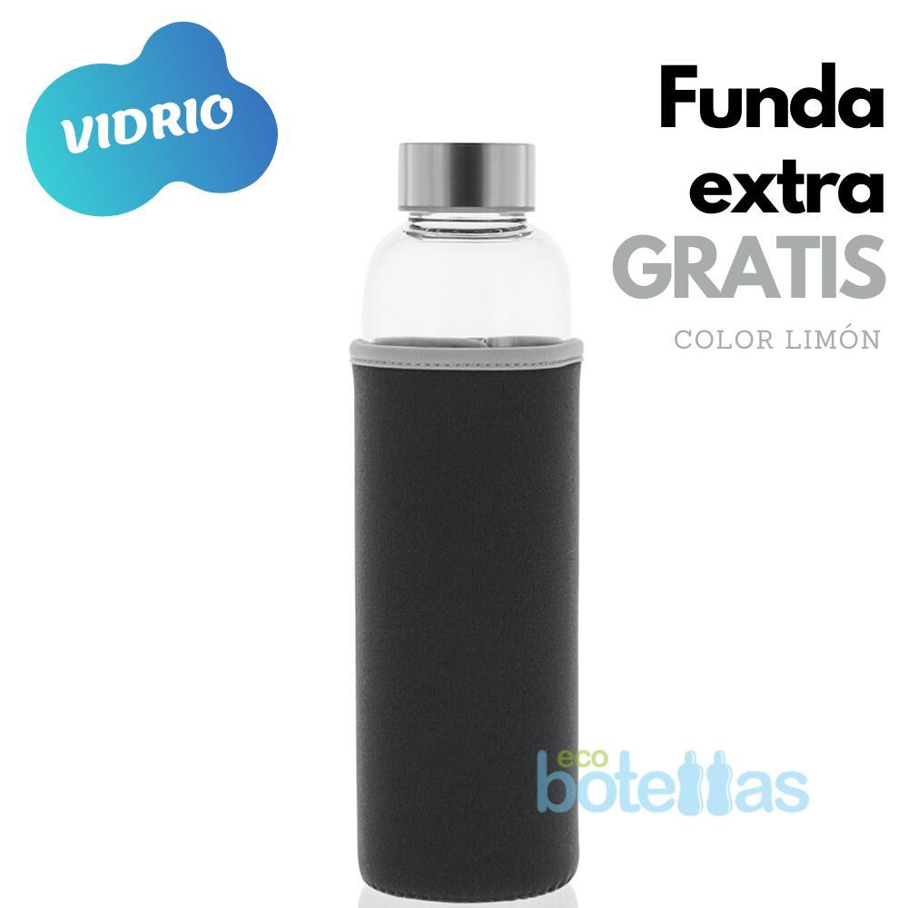 102-S Botella cristal Funda neopreno Negro (500ml)