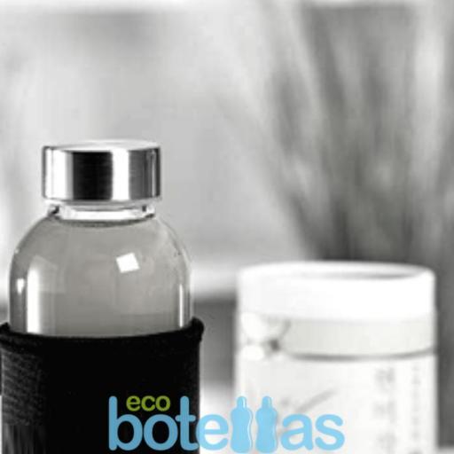 102-S Botella cristal Funda neopreno Negro (500ml) [2]