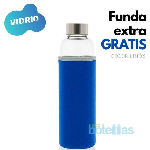 102-S Botella cristal Funda neopreno Azul (500ml)