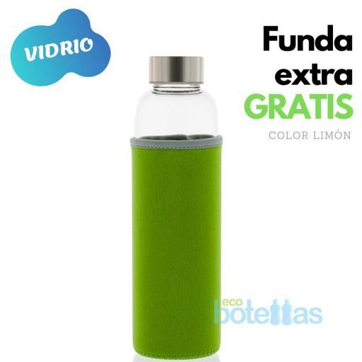 102-S Botella cristal Funda neopreno Verde (500ml)