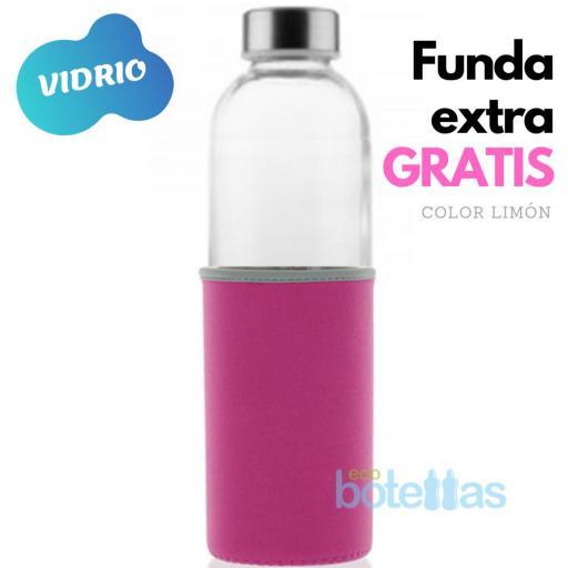 102-S Botella cristal Funda neopreno Rosa (750ml) [0]