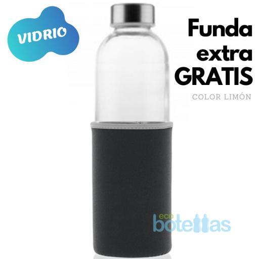 102-S Botella cristal Funda neopreno Negro (750ml)